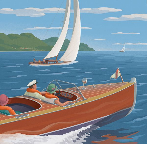 West Marine Classic Boat by Mitch Frey, via Behance classic boat, speedboat, water ski, sailboat, sailing, lake, dock, travel, poster, WPA, National Park, mountain, vintage, retro, family, vacation, wooden boat, antique, sea, ocean, peninsula, riviera, greece, mediterranean