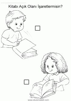Açık kapalı kavramı, open closed worksheets, opposite concepts and coloring pages printables