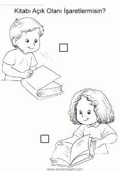 Açık kapalı kavramı, open closed worksheets, opposite concepts and coloring pages printables