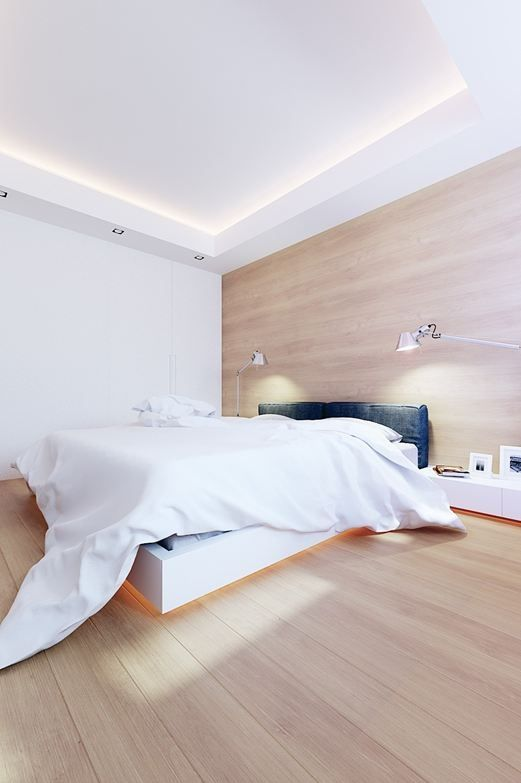 Bedroom indirect lighting. Under the bed is a cool idea! Dormitorio. Cabecero