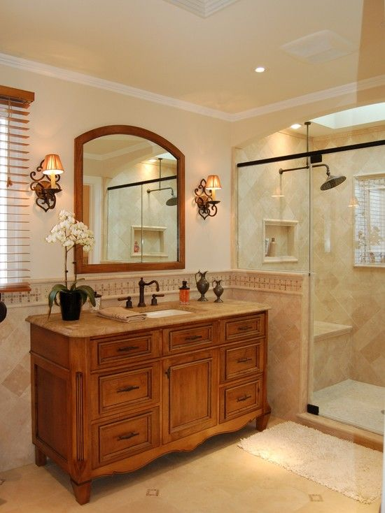 Images On Contemporary Bathroom with Wooden Ecletic Bathroom Vanity and Large Mirror Creating Stylish Bathroom with Bathroom Vanity