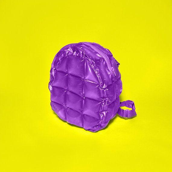 90s plastic Inflatable Bubble Bag backpack Blow up Purple Metallic