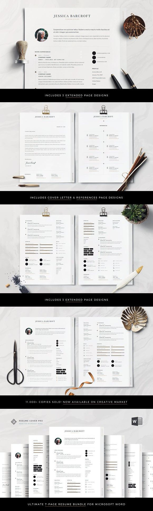 Professional Resume Bundle for Word 1pageresume 2pageresume