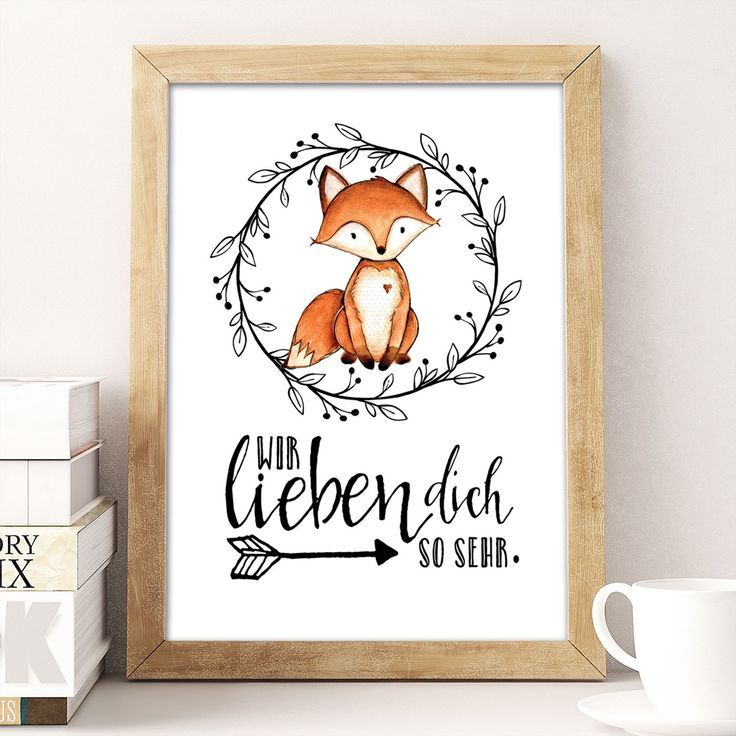 Wir lieben dich so sehr – Fuchs – Kunstdruck A4 Super süße Deko für das Kinderzimmer mit einen ganz lieben Spruch. Ein tolles Geschenk für Kinder …