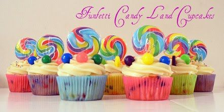 Candyland Cupcakes from Fluff Cupcake - Ahh a candy land bday party would be SOOO much fun!