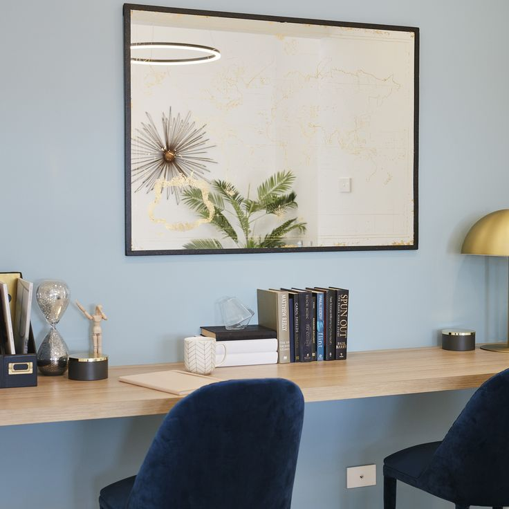#study #workarea #homeoffice #office #work #velvet #timber #wood #traveltheworld #halolighting #reflection #blue