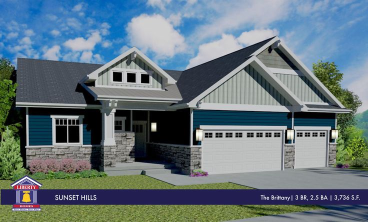 Liberty homes brittany floor plan rambler home stone for Rambler house plans with 3 car garage