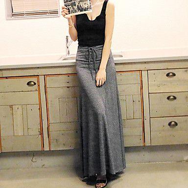 Gonne Da donna Maxi Casual Misto cotone Media elasticità del 2016 a $12.99