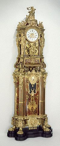 Long case musical clcok. Clock case attributed to Alexandre-Jean Oppenordt, designer; possibly after designs by Gilles-Marie Oppenord, designer   French, Paris, about 1712