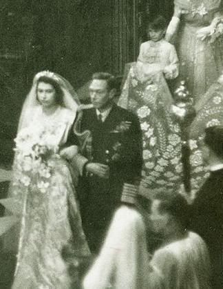 King George walks his daughter, Princess Elizabeth, down the isle at he wedding to Prince Phillip.