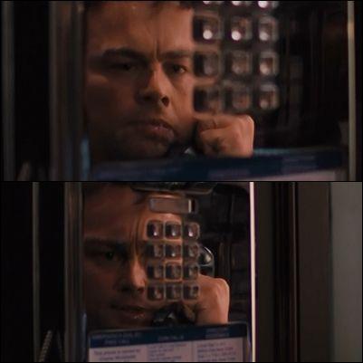 """En la escena en que Jordan está hablando por teléfono y le da el """"subidón"""" por las drogas,se utiliza el reflejo deformado de la cabina para dar el efecto de tergiversación de la realidad,tal y como lo estaría viviendo Jordan"""