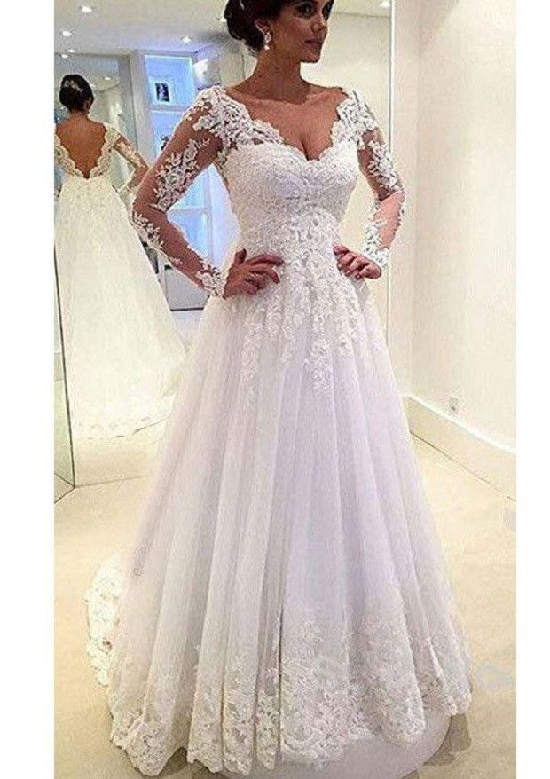 A-line V-neck Long Sleeves Lace Appliqued Beaded Chapel Train Tulle Bridal Wedding Gown