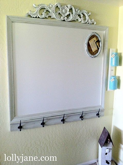 message board could easily transform our white board w some moulding and hooks and a decorative piece up top!