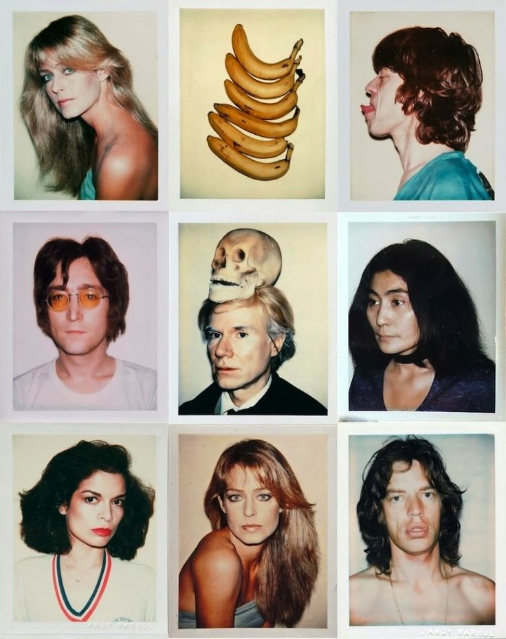 Andy Warhol's polaroid series which involved - Farrah Fawcett, Mick Jagger, John Lennon, Andy Warhol himself, Yoko Ono & Bianca Jagger. Instead of traditional ways of doing art, Warhol  used many forms of media, including hand drawing, painting, printmaking, photography, silk screening, sculpture, film, and music for his projects.