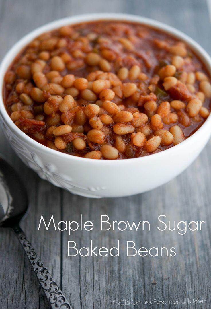 Maple Brown Sugar Baked Beans | Carrie's Experimental Kitchen #beans #sundaysupper #glutenfree