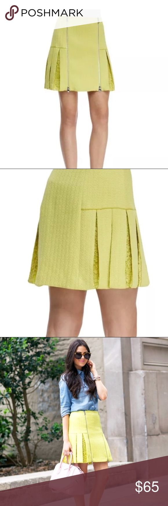 """Rebecca Taylor Pleated Mini Skirt in Lime Green Rebecca Taylor Pleated Mini Skirt in Lime Green Lime green Rebecca Taylor pleated mini skirt with guipure lace accents and dual exposed two-way zip closure at front. Fabric: 74% Polyester, 25% Cotton, 1% Spandex; Combo 1 71% Cotton, 26% Nylon, 3% Linen; Combo 2 100% Silk; Lining 100% Polyester Shell 74% Polyester, 25% Cotton, 1% Spandex Approximate: 13.5"""" Waist, 17"""" Length Gently used in overall good condition. Rebecca Taylor Skirts Mini"""