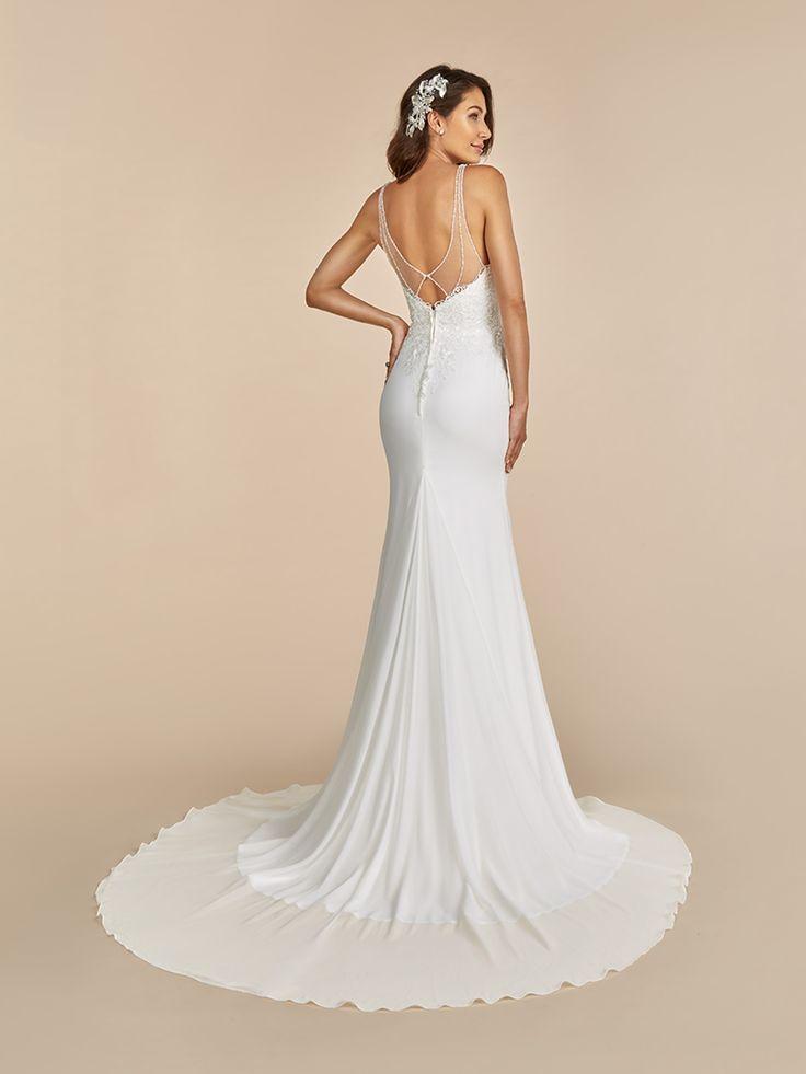 Mermaid V Neck Chiffon Moonlight Tango Wedding Dress Style T889 Wedding Dress Styles Wedding Dresses Beaded Wedding Gowns