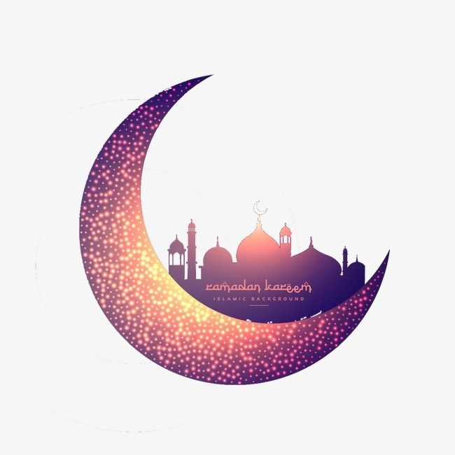 Creative moon and glowing mosque
