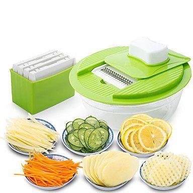 Mandoline+Vegetable+Slicer+Dicer+Fruit+Cutter+Slicer+With+4+Interchangeable+Stainless+Steel+Blades+Potato+Slicer+Tools+–+USD+$+6.39