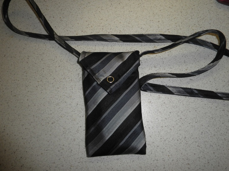 Made from a tie. A little bag for two mobile phones.