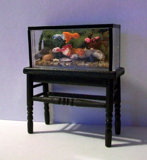 Fish Tank with Stand (half inch scale dollhouse). $45.00, via Etsy.