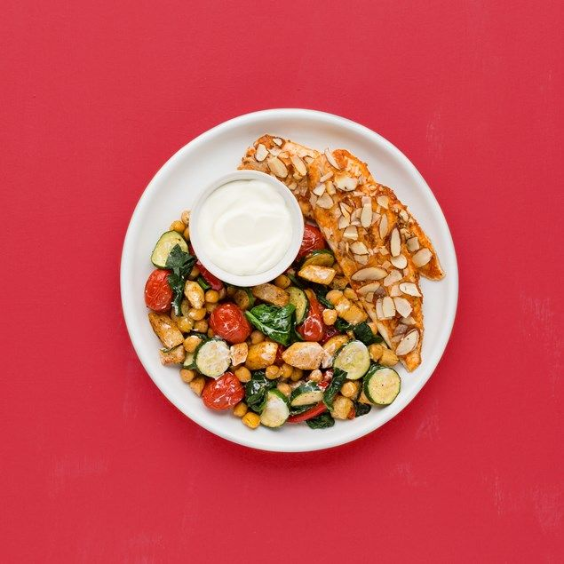 With spice roasted capsicum, courgette, spinach and chickpeas.