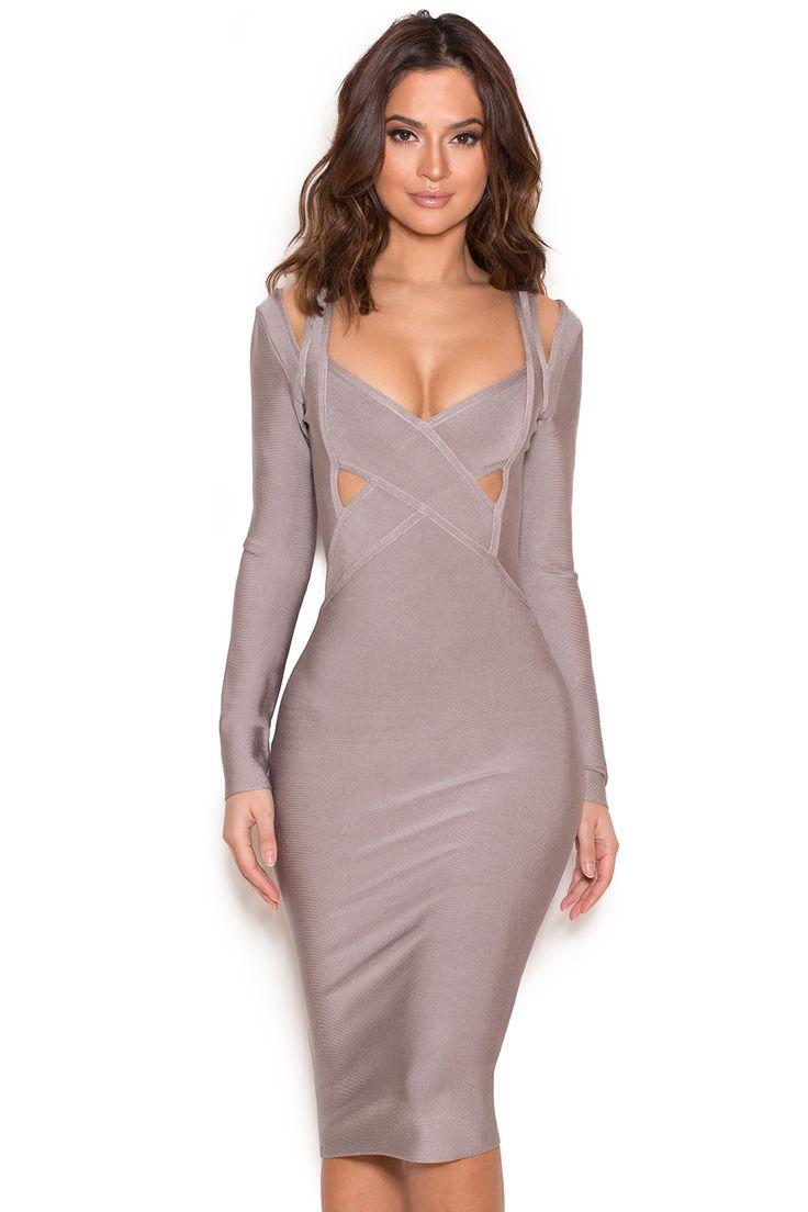 Clothing : Bandage Dresses : 'Calvi' Grey Long Sleeve Cut Out Bandage Dress