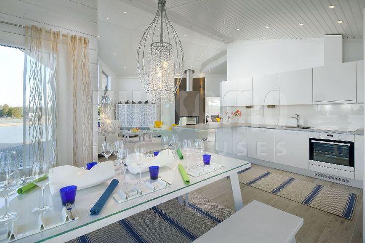 #cocina casa de madera Kuusamo Log Houses modelo Nuuna 122 #interiorismo #diseño