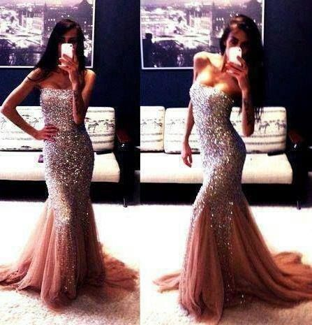 Elegant and long strapless, mermaid-like sparkly prom dress 2014