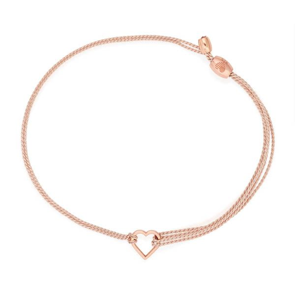 Alex and Ani Kindred Cord (RED) Rose Gold Heart in Light Pink Pull Cord Bracelet at The Paper Store