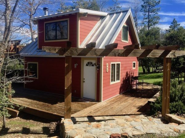 Little Red Cabin With A Metal Roof In Julian California Tiny Cottage Tiny House Cabin Metal Roof