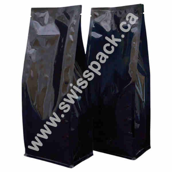 Shiny Black Without zipper Block Bottom Bags Visit http://www.swisspack.ca/block-bottom-bags/