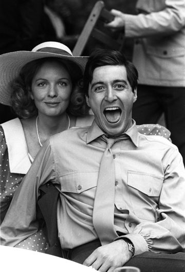 """Diane Keaton and Al Pacino on the set of """"The Godfather"""", 1972"""