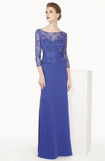 4e86cf64ee15 Sheath Square Neck Split-Front Half Sleeve Chiffon Mother Of The Bride Dress  - UCenter Dress