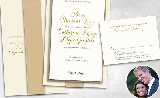 Sean Lowe and Catherine Giudici's Wedding Invitation - love the wording!