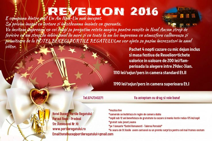 Oferta Revelion 2016 Hotel Bucegi Portile Regatului Predeal Paraul Rece