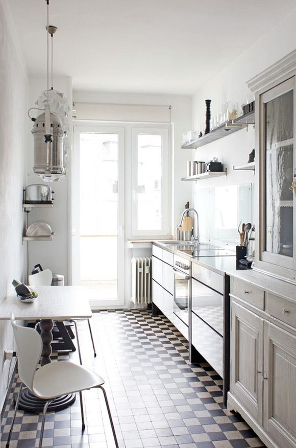 Small Kitchen and small floor tiles