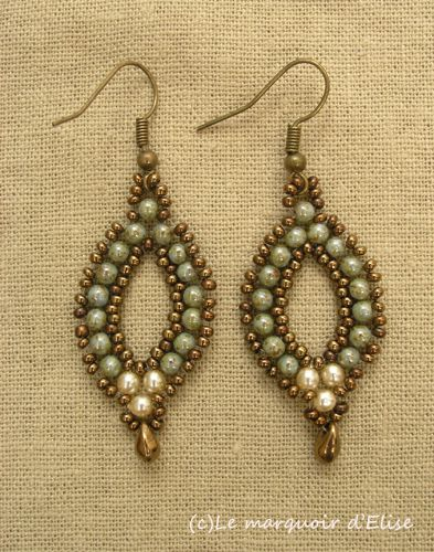 Esmeralda earrings (after Linda's crafty inspiration) modified