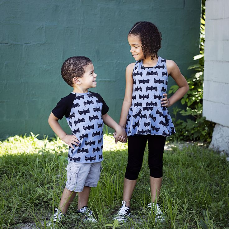 """Bat Grunge"" in gray peplum and brother's tee by Sew Chill"