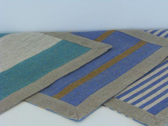 Linen Bath Mat / Bath Rug / Striped / Blue / Green by LinenThread, $12.00
