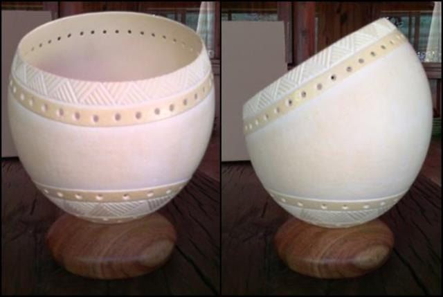 Carved ostrich eggshell lampshade african basket CE2052 by CreativEggs on Etsy