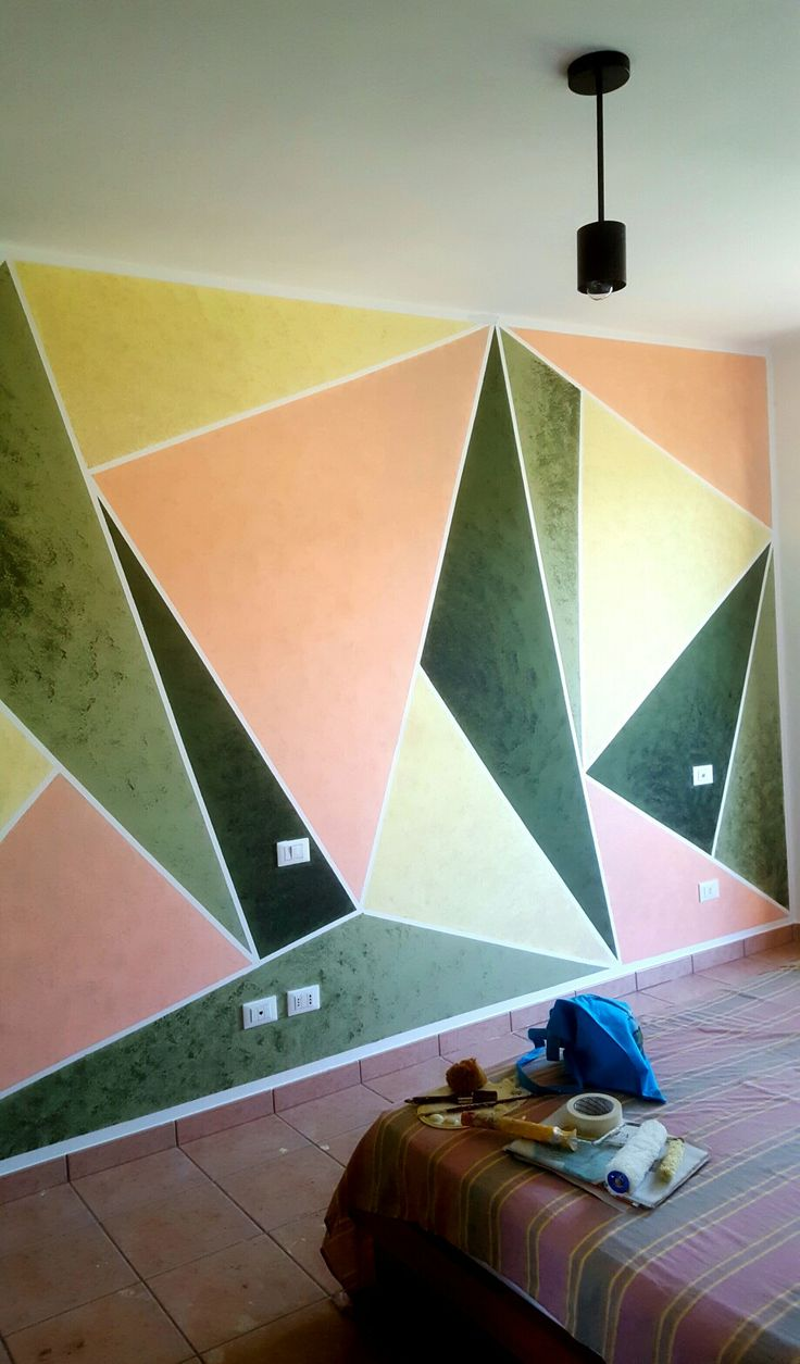 Decorazione di interni ad acrilico con spugnatura.  #wallpainting  #decoration #geometric #inspiration