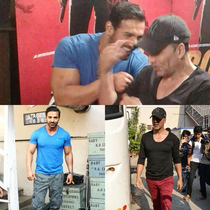 A Desi Boyz moment was recreated when we spotted Akshay Kumar and John Abraham together at a studio in Mumbai. The actors who are also close friends in real life were clicked goofing around together as John was giving interviews for his upcoming movie Rocky Handsome when Akshay spotted him and went up to meet him. by #Filmfare. Shared by #BollywoodScope