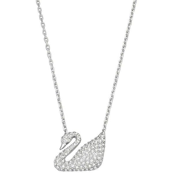 Swarovski Swan Necklace ($99) ❤ liked on Polyvore featuring jewelry, necklaces, silver crystal, clear crystal necklace, swarovski crystal necklace, swarovski crystal pendant necklace, chain necklaces and swarovski crystal jewelry