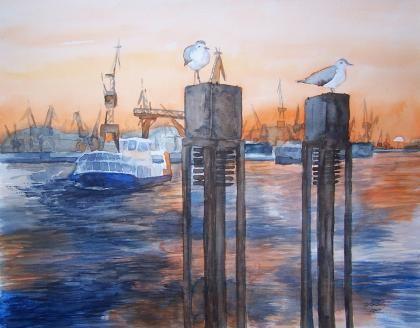 Bi uns to Hus – eine Ausstellung von Hanka und Frank Koebsch | Wächter vor dem Hafen (c) Aquarell von Frank Koebsch