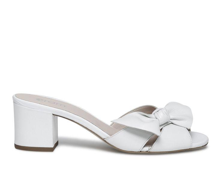 Mule blanche à noeud - Sandales talon - Chaussures femme
