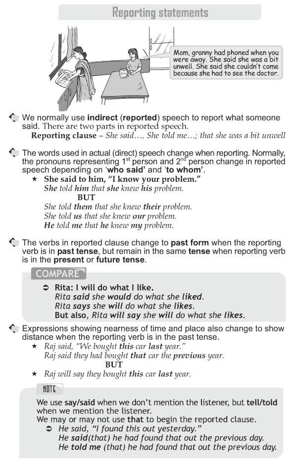Grade 10 Grammar Lesson 35 Reporting statements