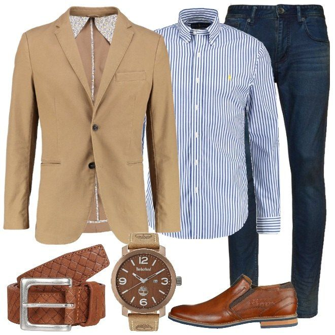 Total look da uomo ideale per una festa informale composto da giacca beige con collo a bavero, camicia blue a righe con colletto kent e jeans slim fit blue. Completo con un mocassino elegante marrone in pelle, cintura marrone in pelle con fibbia e orologio marrone in acciaio inossidabile.