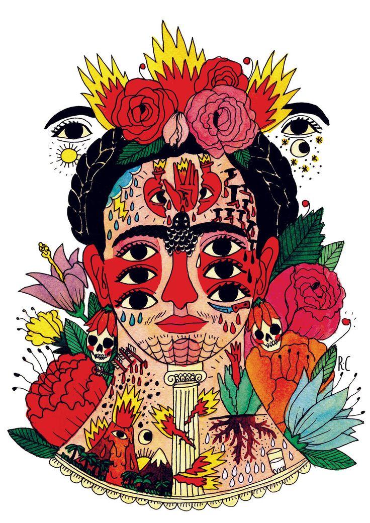 Ricardo Cavolo, Frida, 2014. Watercolor and ink on paper. Website: ricardocavolo.com (970×1371)