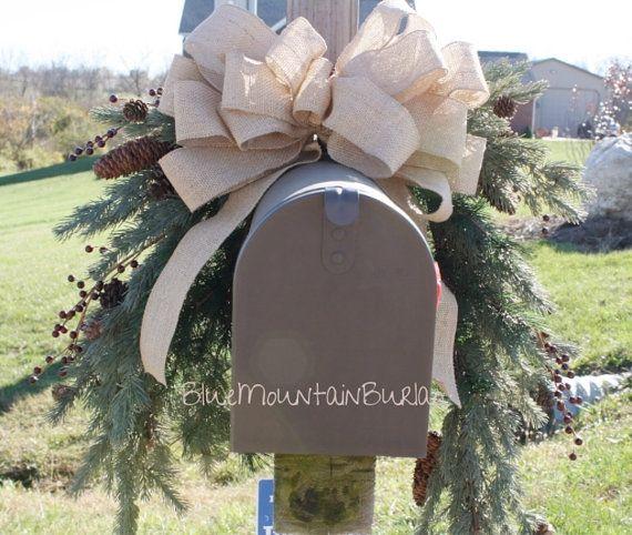 Christmas Mailbox Topper Mailbox Swag Pine by BlueMountainBurlap